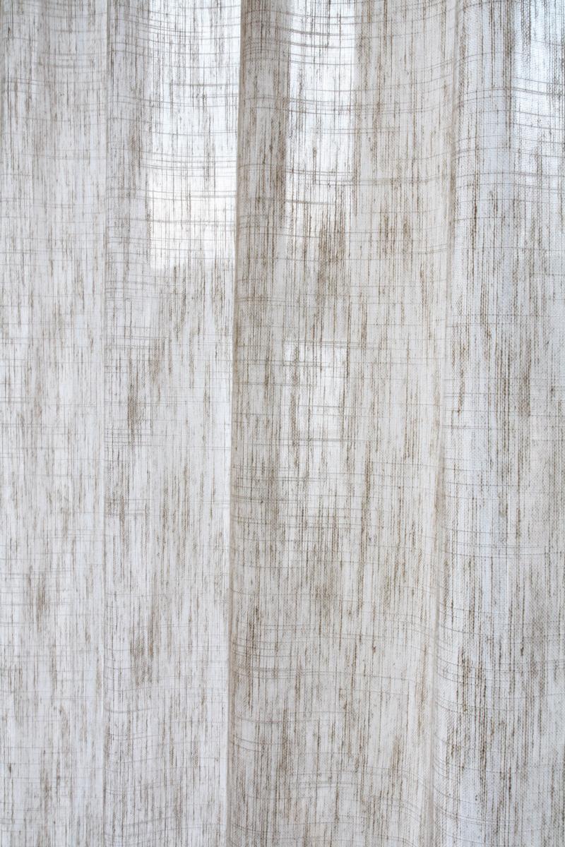 Dekovorhang MADRID Leinen Optik [beige Mit Weissen Kreuzfäden] »  Vorhangbox.ch