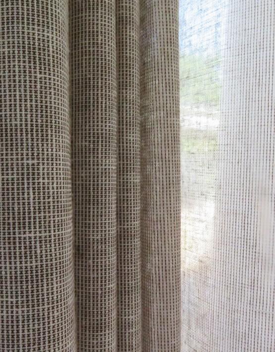 Dekovorhang new york modern beige hellbeige grau for Beige grau kombinieren