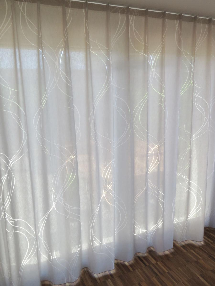 Tagesvorhang SALIMA [elegante Kurven beige grau] vorhangbox