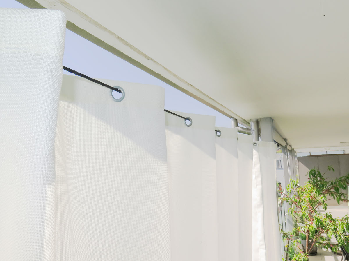 Aufhängesystem für Outdoor-Vorhänge [Stahlseil + Wantenspanner ...