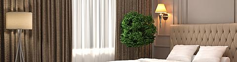 Vorhang-Referenzobjekte: Hotel, Gastronomie, Objektbereich.