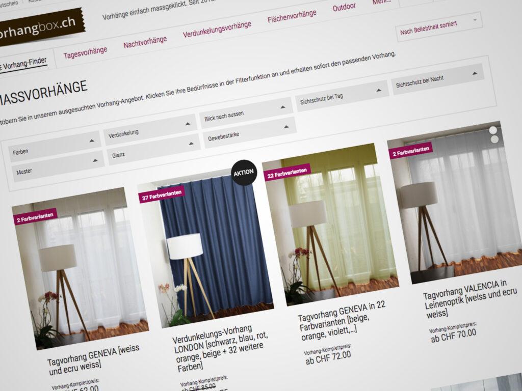 Screenshot Onlineshop vorhangbox.ch - Vorhang-Finder