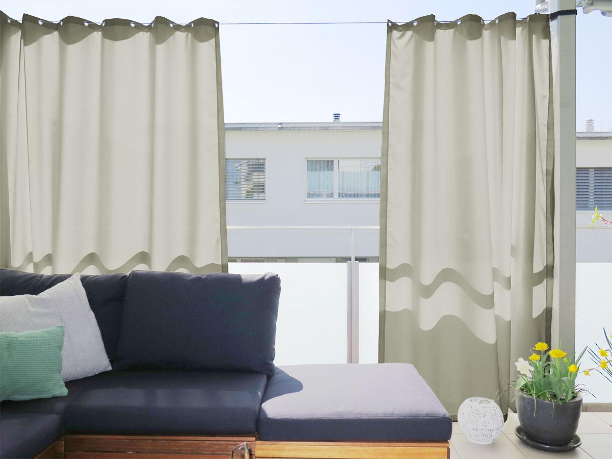 Vorhang Für Balkon : outdoor vorhang santorini nach mass fein beige ~ Watch28wear.com Haus und Dekorationen