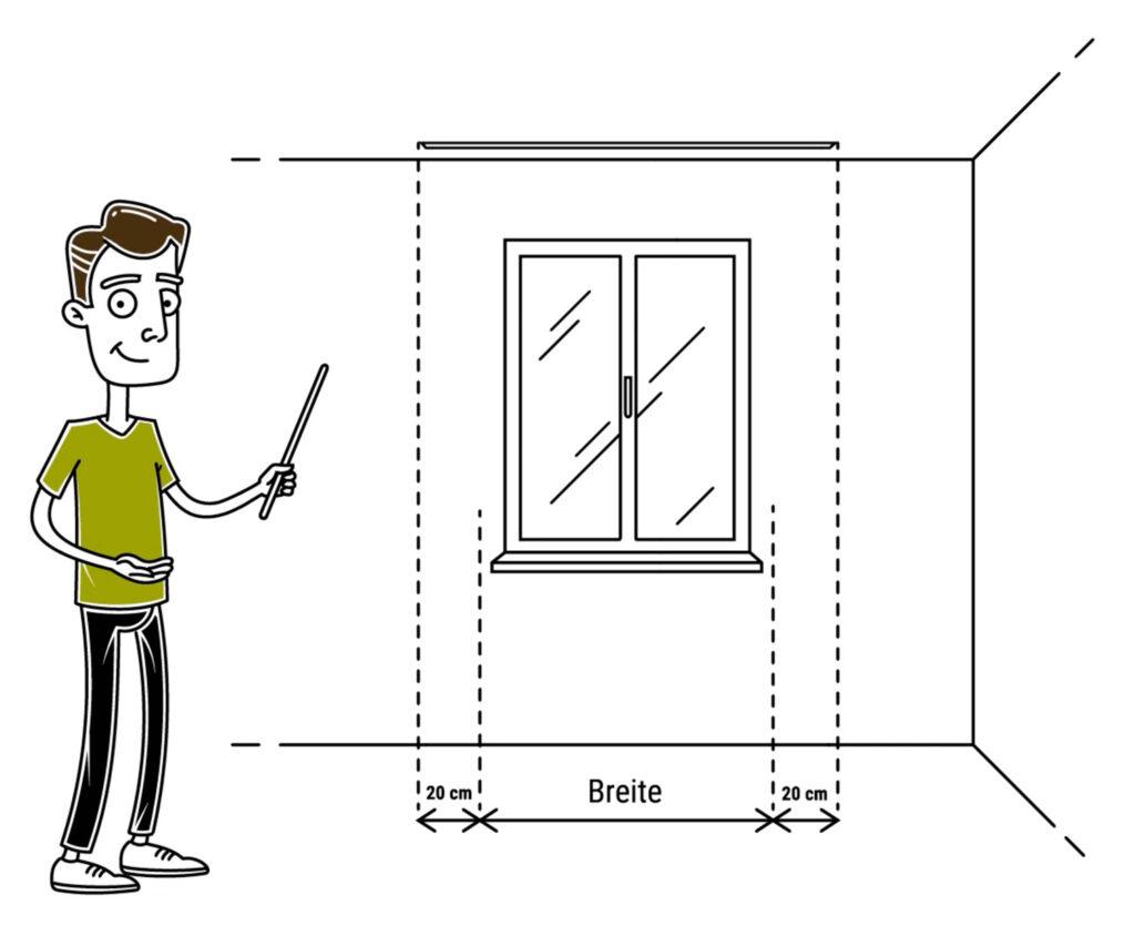 Zeigt wie man die Vorhangbreite richtig messen kann.