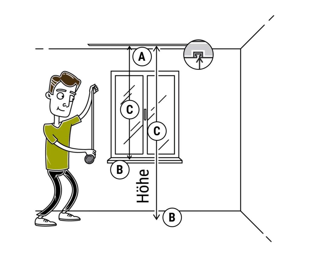 Zeigt wie man die Vorhanghöhe richtig messen kann.